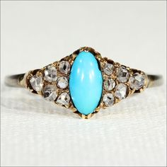 Antique Turquoise and Rose Cut Diamond Ring in 18k Gold