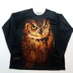 Intimidating Owl Long Sleeve Shirt XL Polyester Athletic Running Base Layer #GetALife #BaseLayers