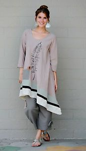 LEE-ANDERSEN-USA-Cotton-Gauze-FERN-TUNIC-Art-to-Wear-Long-Top-S-M-L-XL-TAN