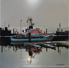 Seenotrettungskreuzer, Schiff, boat, rescue, North Sea, Hafen, Sylt, List, oil on canvas, 30 x 30 cm, Jean-Pierre Kunkel, fine art for sale