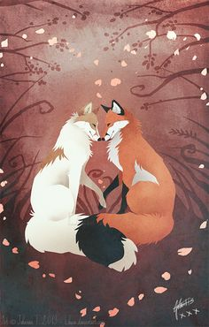 Valentine's Foxes by =Lhuin on deviantART Animal Drawings, Cute Drawings, Fuchs Illustration, Fantastic Fox, Fox Drawing, Photo Chat, Fox Tattoo, Art Anime, Anime Wolf
