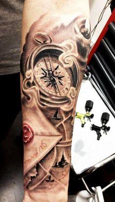 detailed clock tattoo