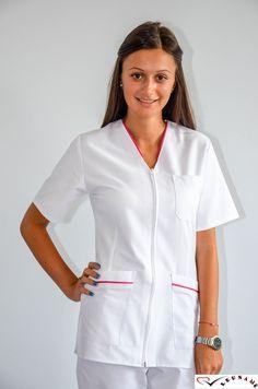 Bluza in V cu fermoar si maneca scurta CM03 - aspect elegant, confort maxim, rezistenta sporita. Destinata industriei alimentare, farmaceutice sau spitalelor, ideal pentru utilizarea de catre medici, asistente medicale in cabinete medicale, spitale, policlinici, etc. Compozitie: 65% poliester, 35 bumbac.    http://incaltamintemedicala.ro/uniforme-medicale/cm03-bluza-in-v-cu-fermoar-si-maneca-scurta-leuname