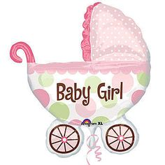 Baby Buggy Girl Mylar Balloons feature trendy pink and green polka dot design on this new modern twist of a pram. Our Baby Buggy Girl Balloon measures 27 inches x 30 inches.
