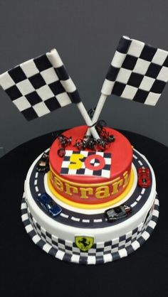 Ferrari Birthday Cake with Ferrari Hot Wheel cars