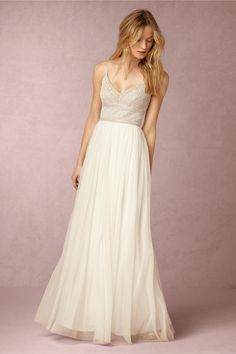 """Adrianna Papell White Skirt Off-white Bodice """"Poly-tulle; Polyester Interlock Poly-satin Lining"""" - Naya Casual Wedding Dress Size 4 (S) off retail Romantic Bohemian Wedding Dresses, Wedding Dresses Under 500, Wedding Dress Sizes, Casual Wedding, Wedding Gowns, Bridal Gown, Lace Wedding, Trendy Wedding, Reception Dresses"""