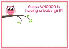 Girl Owl Baby Shower Invitation