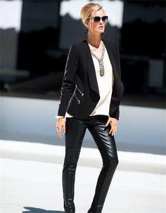 Blazer, Trousers, Blouse, pure silk, Sunglasses