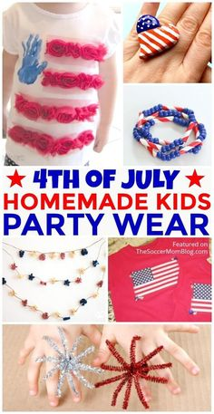 The cutest DIY of July fashion, clothes, and jewelry ideas for kids Fourth Of July Crafts For Kids, Diy Crafts For Girls, Diy For Kids, 4th Of July, Diy Halloween Decorations, Halloween Diy, Diy Fashion, Fashion Clothes, Kids Party Wear