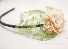 lace and flowers spring headband wedding hair by BeSomethingNew, $32.00