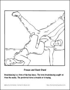 breakdancing printables b boy downrock coloring page