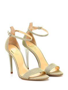 ICONE - Sandalo alto - Donna - Sandalo alto in tessuto lurex con cinturino alla caviglia e suola in cuoio. Tacco 105. - PLATINO - € 139.00