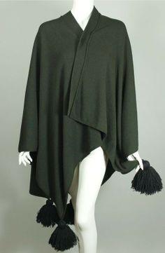 6f9d650ec44 Sonia Rykiel green wool knit sweater cape tassels 1980s SW122 from Viva  Vintage Clothing Vintage Coat