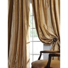 Exclusive Fabrics Signature Biscotti Textured Silk Curtain Panel by Exclusive…
