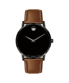 Movado Museum Classic Mens Watch with Black Dial and Brown Leather Strap (Swiss quartz movement) - Day's Jewelers Diamond Professionals Since 1914 Classic Man, Classic Leather, Cool Watches, Watches For Men, Men's Watches, Cheap Watches, Movado Mens Watches, Affordable Watches, Watches Online