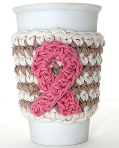 Show your support for the cause everyday with this crocheted cup cozy. Shown in Bernat Handicrafter Cotton.