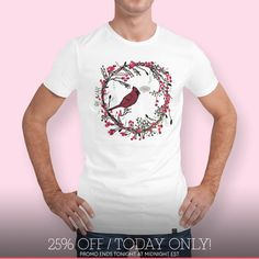 Discover «Winter Wreath and Cardinal», Limited Edition Men's Classic T-Shirt by Deb Quigg - From $29 - Curioos