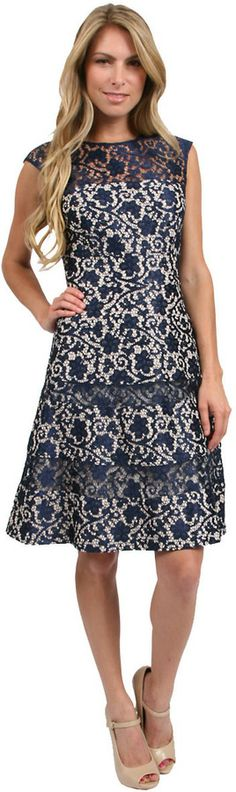 Kay Unger New York Lace Fitted Flare Dress in Navy/Multi