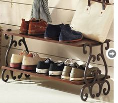 shoe rack that isn't flat on the bottom so we can avoid the tipping problem on the carpet.