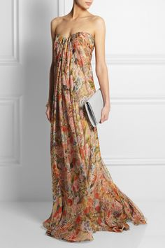 Alexander McQueen | Floral-print silk-chiffon gown | Gianvito Rossi | Metallic leather sandals | Maison Martin Margiela | Leather clutch | Alexander McQueen | Gold-tone Swarovski crystal skull charm bracelet