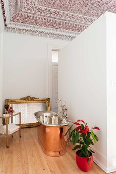 Palácio Principe Real | Lisbon | Drummonds Stucco Ceiling, Wall Mounted Towel Rail, Classic Showers, Copper Bath, Shower Rose, Bath Shower Mixer, Classic Bathroom, Wall Bar, Large Windows