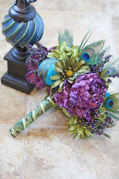 Peacock Wedding Bouquet - Purple Peacock Feather Bouquet. $100.00, via Etsy.