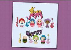 Jem and The Holograms and Mistfits parody - PDF cross stitch pattern Geek Cross Stitch, Mini Cross Stitch, Cross Stitch Patterns, Diy Embroidery, Cross Stitch Embroidery, Embroidery Patterns, Jem And The Holograms, Jem Et Les Hologrammes, Peler Beads