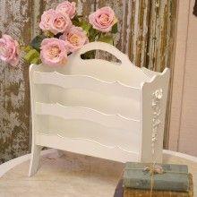 White Shabby Chic Magazine Rack <3 Shabby Chic Cottage Pink Roses
