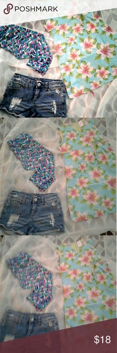Girls' Sz. 7-8 Summer Camp Bundle Justice distressed, denim with bling shorts sz 8 reg, adorable gently worn, pastel, tropic sundress sz 7, worn only 3 or 4 times, brand new patterned, capri leggings sz 7-8. Justice Other