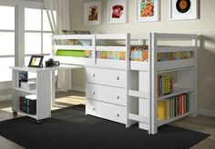 Twin Low Loft With Roll-out Desk, Bookcase & Chest (white)