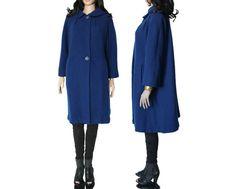 60s Royal Blue Maxi Swing Coat Mod Preppy Hipster by KatrajinaCo, $68.00