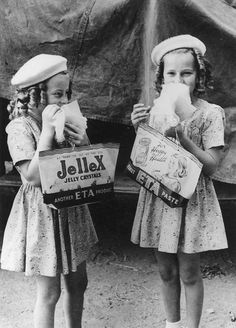 Two young girls at the RNA Show, Brisbane, 1946