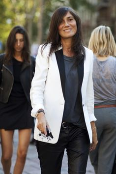 it's balanced: the chic jacket with the leather pants. (editor-in-chief of Vogue Paris)