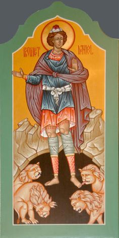 D is for St. Daniel the prophet, held captive in Babylonia, rose to advisor to King Darius - thrown in the lion's den for praying, but kept safe.  Icon written by the hand of Matthew Garrett, 2005