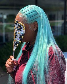 blue, blue hair, and hair image Baddie Hairstyles, My Hairstyle, Black Girls Hairstyles, Weave Hairstyles, Colored Wigs, Coloured Hair, Curly Hair Styles, Natural Hair Styles, Cute Hair Colors