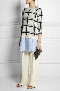 Thakoon Addition|Cotton-trimmed checked knitted sweater|Bottega Veneta | High-rise twill wide-leg pants | See by Chloe | Embellished leather and canvas sandals | Sophie Hulme | Textured-leather pouch | Chloe | Carly gold-tone bracelet | Maiyet | Butterfly gold-plated ring