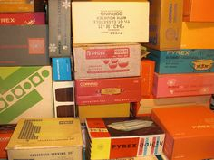 Stacks and stacks of Pyrex in THEIR ORIGINAL BOXES.  Whoa.
