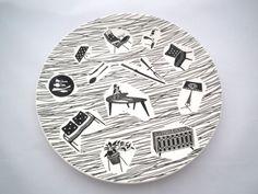 Homemaker Plate 1960s - Ridgeway England - Mid century Plate - Black and White - on Etsy, $15.13