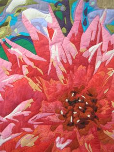 close up, Dahlia by Rita Dijkstra, 2013 Dutch Quilt Guild show, posted at A Passion For Threads