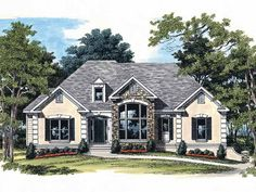 French Country House Plan with 2032 Square Feet and 4 Bedrooms(s) from Dream Home Source | House Plan Code DHSW05851