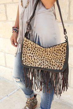 Cheetah Fringe Purse - Southern Jewlz Online Store