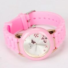 Butterfly Style Pink Silicone Watch   name=