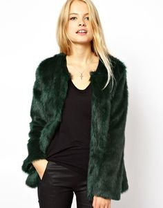 ASOS Collarless Longline Faux Fur Coat. I don't know where I would wear it but I want!!