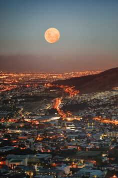Cape Town at Full Moon, South Africa