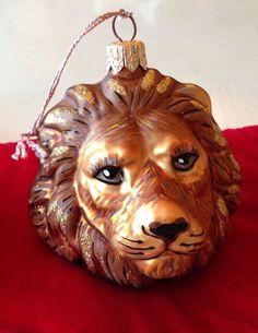 Slavic Treasures Blown Glass Christmas Ornament Lion Head King Of The Jungle
