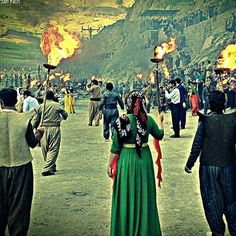 Kurdish People in traditional Costumes during the Newroz Ceremony in the Kurdistan Province, Iran.