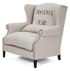 Napoleon Linen Brass Nail head Half Wingback Chair | Kathy Kuo Home