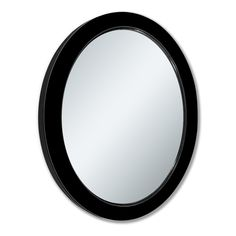 Shop allen + roth 24-in x 30-in Black Beveled Oval Framed French Wall Mirror at Lowes.com
