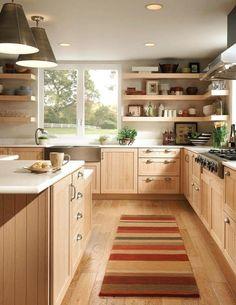 New kitchen cabinets - Light wood kitchen designs – New kitchen cabinets Birch Cabinets, Maple Kitchen Cabinets, Kitchen Shelves, Kitchen Redo, Kitchen Ideas Light Wood Cabinets, Kitchen Cupboard, White Cabinets, Hickory Kitchen, Colored Cabinets