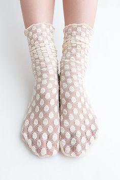 Women New Hezwagarcia Cute Bubble Pop Polka Dot Pattern Mesh Wedding Nylon Loose Socks in Beige